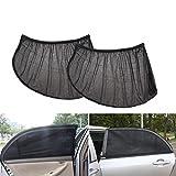 BRUSSELS082PCS auto parasole per lunotto posteriore auto e laterale parasole visiera schermo di blocchi di raggi UV Shield tenda parasole Baby schermo per auto, SUV, camion e furgoni Full size, Retina tessuto , Nero , x-large
