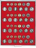 Lindner 2204 Münzenbox für 4 DM-Kursmünzensätze-Grau / rote Einlage