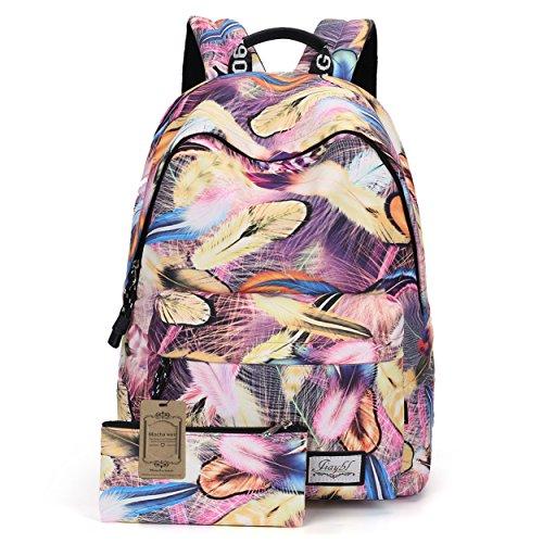 Mocha weir JIAYBL Laptop Taschen Schultern Kinder Schultaschen Rucksack Hochschule Mädchen Canvas Pack reisen (Rot Gefieder) Rosa Gefieder