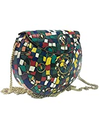 Multi Color Stone Party Bags,Ethnic Clutch,Sling Bags For Women On Sale, Metal Bag,ethnic Tribal Wallet,vintage...