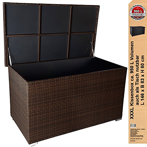 premium venezia 950 l xxl kissenbox es regnet nicht rein l 146 cm x b 83 cm x h 80 cm ideal als. Black Bedroom Furniture Sets. Home Design Ideas