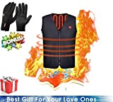 Freefa vGilet Elettrico Riscaldato, Taglia Lavabile Scalda Corpo riscaldante USB Panciotto Gilet Uomo (Nero, L)