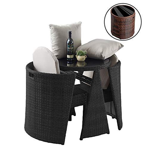 Garten Rasen Sofa Möbel Casual 3-teiliges Outdoor-Gespräch Set Wicker Patio Möbel Bistro Set mit Glasplatte Tisch, platzsparendes Design (Color : 3) -