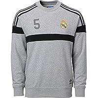 adidas Originals Hombre Real Madrid fútbol Cuello Redondo Sudadera (Gris) 60693c5006809