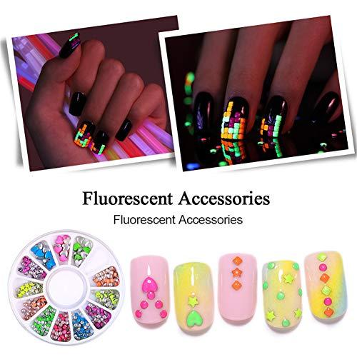 BORN PRETTY Fluorescent Metal Nail Studs 3D Colorful Flat Back Luminous Nail Art Rivets Star Square Heart DIY Nail Decorations