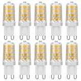 LE G9 LED Lampen, 5W 340 Lumen LED Leuchtmittel, 3000 Kelvin Warmweiß, ersetzt 50W Halogenlampen, 10er Pack