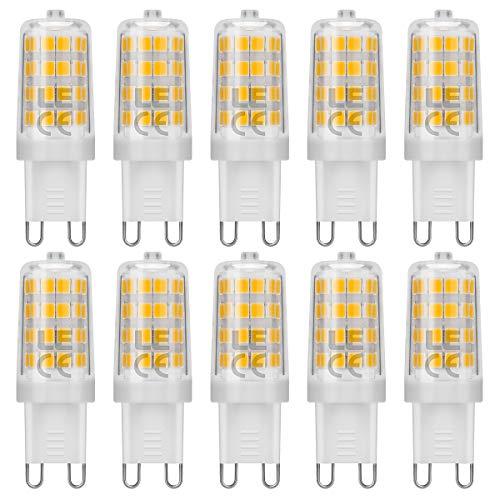 LE G9 LED Lampen, 5W 340 Lumen Leuchtmittel, 3000 Kelvin Warmweiß, ersetzt 50W Halogenlampen, 10er Pack
