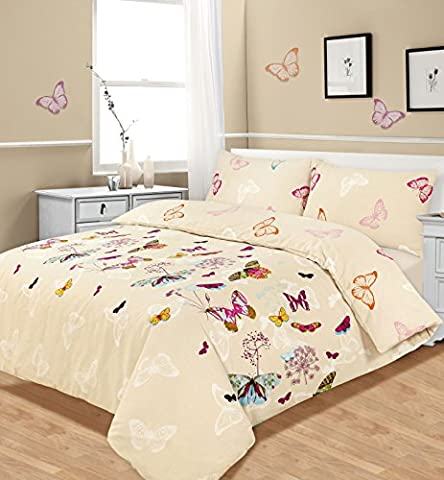 Double Bed Duvet / Quilt Cover Bedding Set Multi Butterfly Glaze