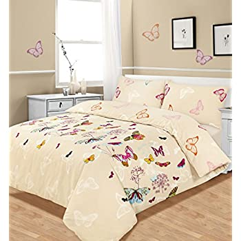 Butterfly duvet set pink double bed size bedding cover for Kitchen set for 7 year old