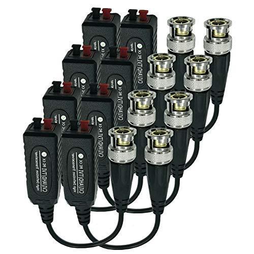 Arayker Passiver Video Balun Transceiver CCTV Video Balun Anschluss, kompatibel mit HD-CVI/TVI/AHD/CVBS, männlich BNC auf UTP, CAT (5/5E/6), für Überwachungskamerasystem, 4 Paar Cat5-komponente
