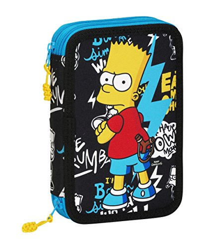 The Simpsons- Plumier Doble pequeño 34 Piezas, Color Negro (SAFTA 411605054)