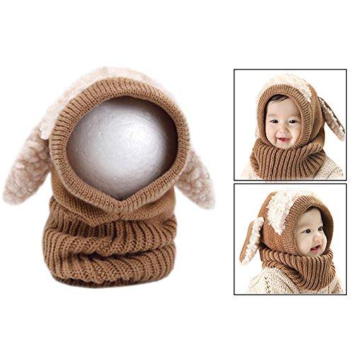 OFKPO Kinder Winter mütze und Schal mit Ohren,Schalmütze aus Wolle(Braun) (Mütze Fäustlinge)