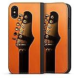 DeinDesign Apple iPhone XS Leder Flip Case Tasche Hülle Gitarre Saiten Instrument