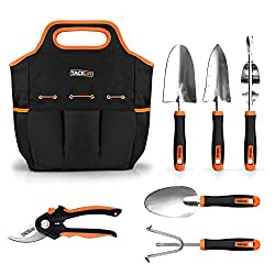 TACKLIFE Garden Tools, 7 Piece Stainless Steel Gardening Tools with Soft Rubberized Non-Slip Handle -Durable Storage Tote Bag and Pruning Shears - Gardening Gifts for Men & Women