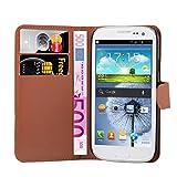 Cadorabo Hülle kompatibel mit Samsung Galaxy S3 Mini Hülle in Schoko BRAUN Handyhülle mit Kartenfach und Standfunktion Schutzhülle Etui Tasche
