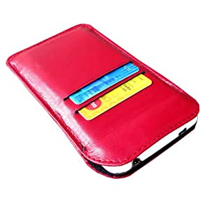 i-KitPit Genuine Leather Pouch Case For Blackberry 9720 (RED)