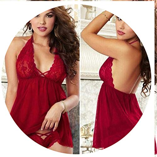 805f83634d Sexy Lingerie Lace Babydoll Chemise Transparent Haltter Erotic Lingerie  Sexy Costumes Wind red M