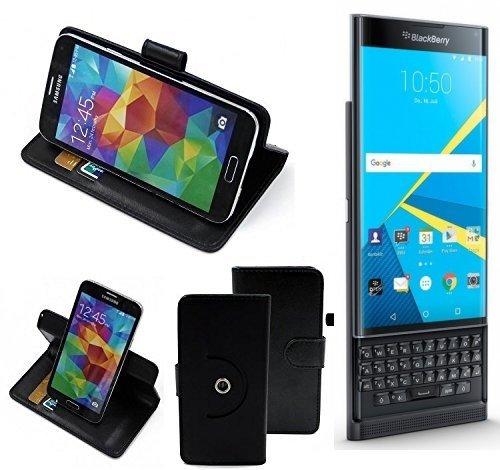 K-S-Trade Top Set: 360° Funda Smartphone para Blackberry Priv, Negro + Anillo Protector | Función de Stand Caso Monedero BookStyle Mejor Precio, Mejor Funcionamiento