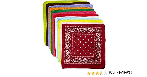 28382d0f2493 The Rock Collection Lot de 12 bandana en coton avec décoration cachemire  Violet orange gris bleu cerise rouge noir rose jaune vert  citron blanc vert  ...