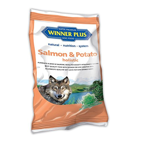 WINNER PLUS Salmon & Potato holistic 150 g - Alimento olistico, senza glutine e grano, facilmente digeribile, per cani sensibili o con allergie e intolleranze alla carne