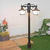 Stehlampe Außen Schwarz 2-flammig H 122cm Glasschirm Rustikal Stehleuchte Wegeleuchte Gartenbeleuchtung Terrasse