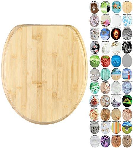 Sedile wc con chiusura ammortizzata, grande scelta di belli sedili wc da legno robusto e di alta qualità (bambù)