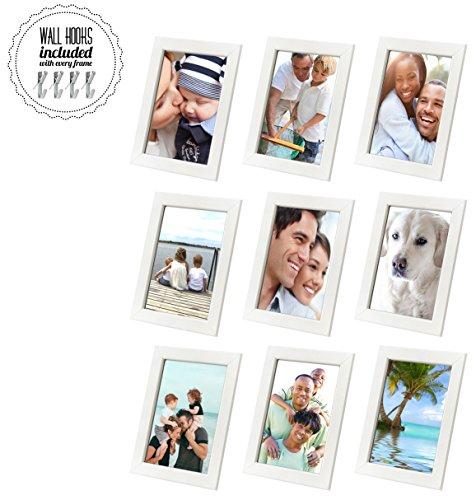 Family Bilderrahmen Collage mit Hardware [A + + + qbg Wandhaken] | Set von 7Bilderrahmen | inkl. drei große Weiß Bilderrahmen für Wand oder Schreibtisch, weiß, 5 x 7 Collage of 9, White (White X-frame Schreibtisch)