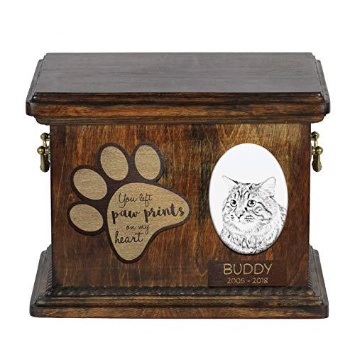 Kurilen (Kurilen Bobtail, Urne für Katzenaschendenkmal mit Keramikplatte und Zitat - ArtDog Personalisiert)