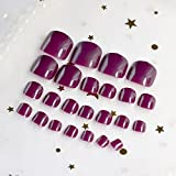 Künstliche Fußnägel aus Acryl von EchiQ, dunkel-lila, zum Aufkleben, 24 Stück