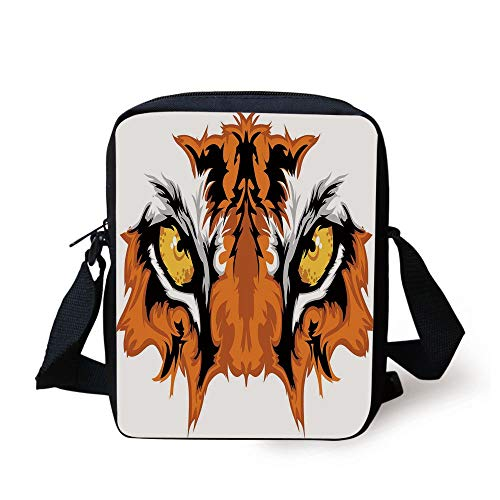 CBBBB Eye,Tiger Eyes Graphic Mascot Animal Face Bengal Cat African Safari Predator Theme Decorative,Orange Yellow Black Print Kids Crossbody Messenger Bag Purse - Mascot-clip