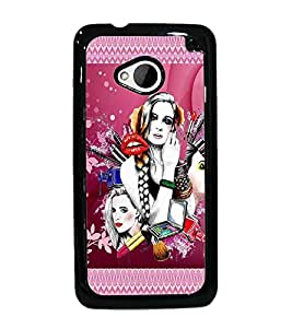 PrintDhaba Girls D-4574 Back Case Cover for HTC ONE M7 (Multi-Coloured)