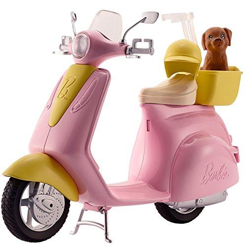 Barbie Moto Scooter rosa de muñeca y perrito (Mattel DVX56)