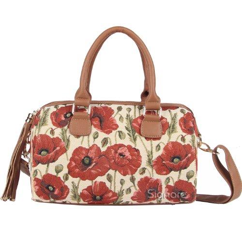 Signare sac d'épaule à poignée tapisserie mode femme Coquelicot