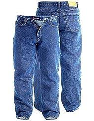 """Mens Rockford Duque lavado de piedra azul 76,2 cm tela vaquera pata corta cómodo grande tamaño adulto pantalones rey Stonewash Blue Talla:56"""" Waist"""