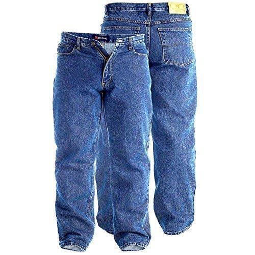 Herren Rockford Duke Stonewash Blau 86.4cm Lang Inside Bein Denim Jeans Bequeme Passform Groß King-size Erwachsene Hosen - W52 (Passform-jeans Stonewash-bequeme)