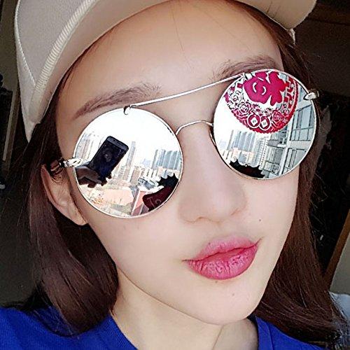 WWF Runde Metallrahmen Gläser Frau Sonnenbrille Persönlichkeit Reflektierende Sonnenbrille Elegante Göttin Kleine Gläser Männliche Sonnenbrille,Rosa,0 cm