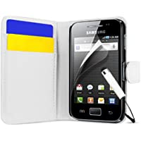 Supergets Hülle für Samsung Galaxy Ace S5830 Buchstil Klapptasche in Lederoptik mit Karteneinschub, Magnetverschluß Etui Flip Case, Schutzfolie, Reinigungstuch, Mini Eingabestift