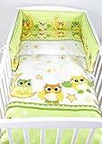 BABYLUX Kinderbettwäsche 2 Tlg. 90 x 120cm Bettwäsche Bettset Babybettwäsche (55. Eule Grün)