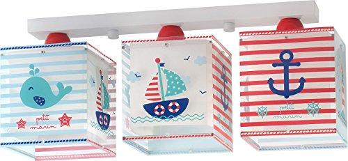 Dalber 43423 Petit Marin,Lámpara regleta 3 luces pequeño marinero, plástico, azul, 50x 14x 20,5cm.