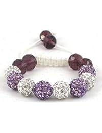 08-Ball Children Kids Girls Boys Petites Teen White & Purple Bead Shamballa Bracelet with Purple Crystals on White String