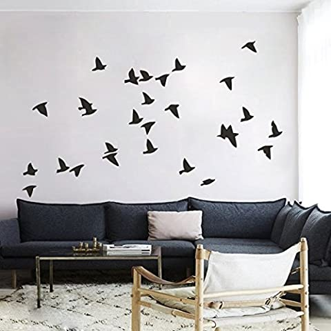 mairgwall Familia de Home Decor Pájaros vinilo de bandada de pájaros decoración de dormitorio adhesivo decorativo (volar a la derecha), vinilo, negro, 48