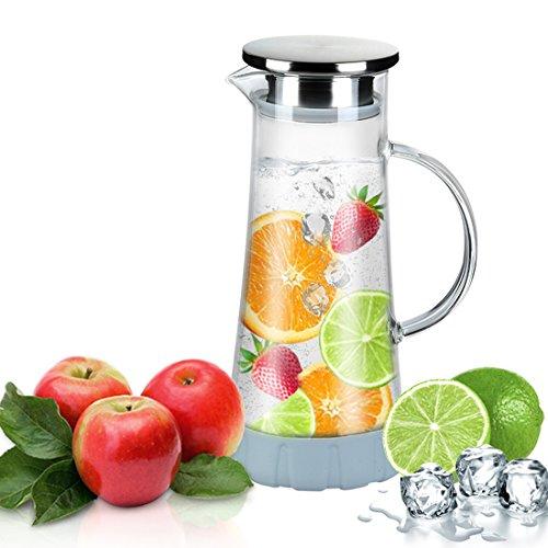 Wasserkaraffe,WOQO Karaffe,Wasserkrug Untersetzer Reinigungsbürste Glaskanne(Glaskrug ca 1.5L)