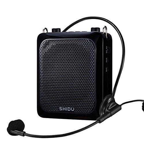 SHIDU SD de S516Voice Amplifier (UHF) 30W Portable PA Speaker System with 4000mAh Rechargeable Lithium Battery, Build en Recorder & Echo for Teacher/Tour Guides Outdoors & Indoor Activities (Black) negro negro