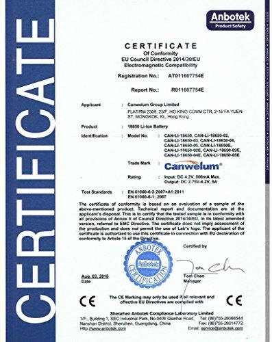 Canwelum 3,7V Lithium-Ionen 18650 Akku und Ladegerät - 7
