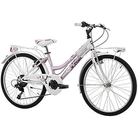 Bicicletta Bimba City Bike Daisy in Acciaio 24 Pollici Cambio Shimano 6 V bianco/rosa