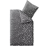 CelinaTex Touchme Tessa Biber Bettwäsche 135 x 200 cm 2-teilig anthrazit dunkel grau weiß Flauschiger Bettbezug Punkte 5001040