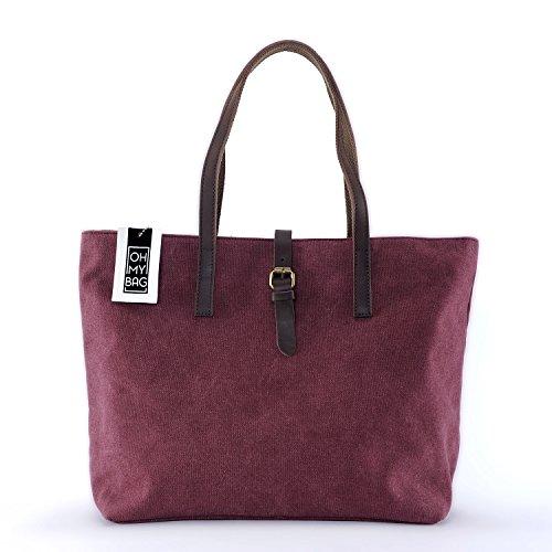 OH MY BAG Sac cabas femme en cuir et toile porté main et épaule Modèle BALI Nouvelle collection - SOLDES