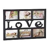 Relaxdays Bilderrahmen Love, Collage für 6 Fotos 10x15 cm, Galerierahmen zum Aufhängen, HBT: 33 x 48 x 1,5 cm, schwarz
