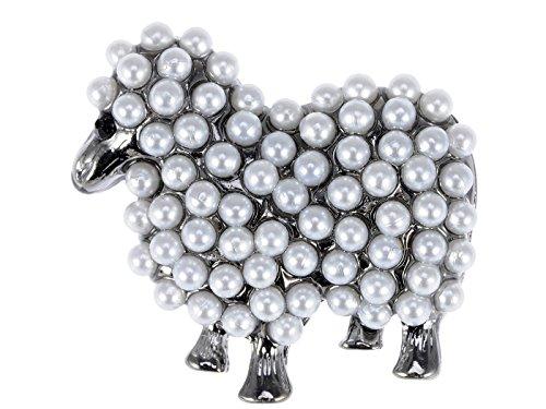 Teen Kostüm Pfau - Alilang Silber Ton Kunstliche Weiß Perlen Schaf Lamm Ziege Brosche