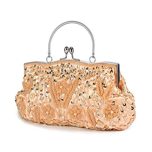 Frauen Vintage Kuss Lock Perlen Pailletten Design Blume Abend Clutch Große Hochzeit Geldbörse - Champagner-1 (Perlen Tasche Abend Vintage)